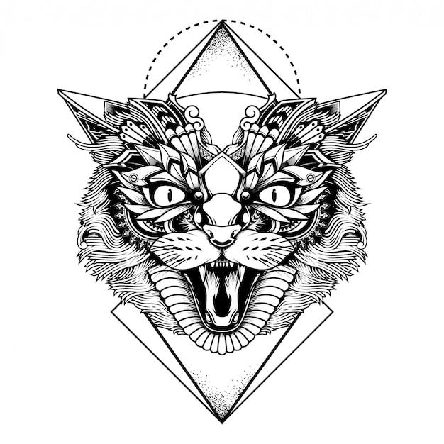 Illustrazione di gatto etnico e design tshit