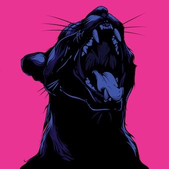 Illustrazione di gatto urlando e design tshirt