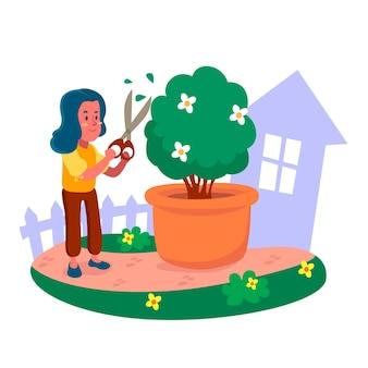Illustrazione di giardinaggio a casa con gli alberi della guarnizione della donna