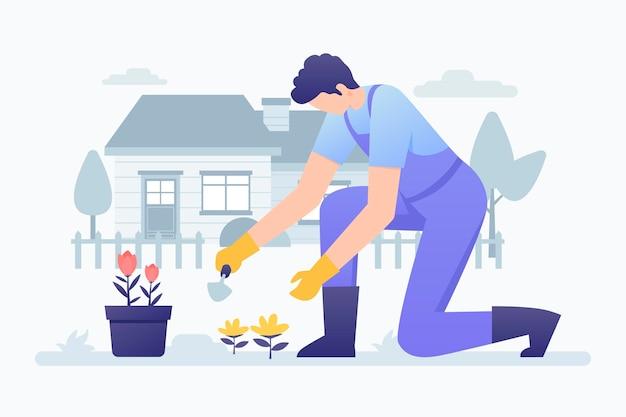 Illustrazione di giardinaggio a casa con l'uomo