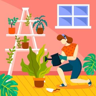 Illustrazione di giardinaggio a casa con la donna