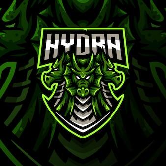 Illustrazione di gioco esport del logo della mascotte di hydra