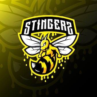 Illustrazione di gioco esport di ape mascotte logo esport