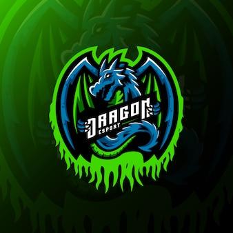 Illustrazione di gioco esport di logo della mascotte del drago