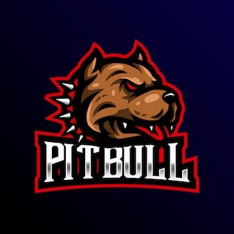 Illustrazione di gioco esport di pitbull mascotte logo esport