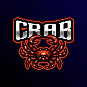 Illustrazione di gioco esport granchio mascotte logo esport