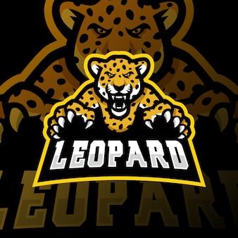 Illustrazione di gioco esport logo mascotte leopardo