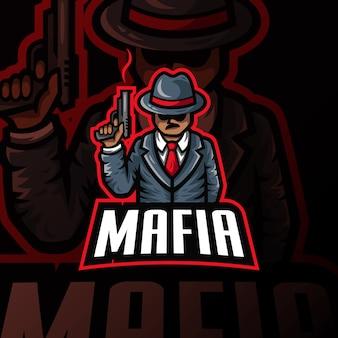 Illustrazione di gioco esport mafia mascotte logo esport