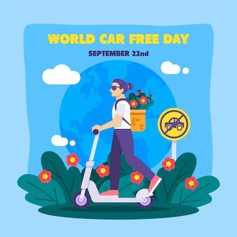 Illustrazione di giornata libera di auto del mondo