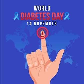 Illustrazione di giornata mondiale del diabete con testo