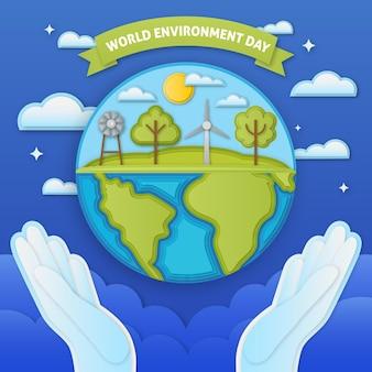Illustrazione di giornata mondiale dell'ambiente nello stile di carta