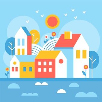 Illustrazione di giornata mondiale dell'habitat con case di città