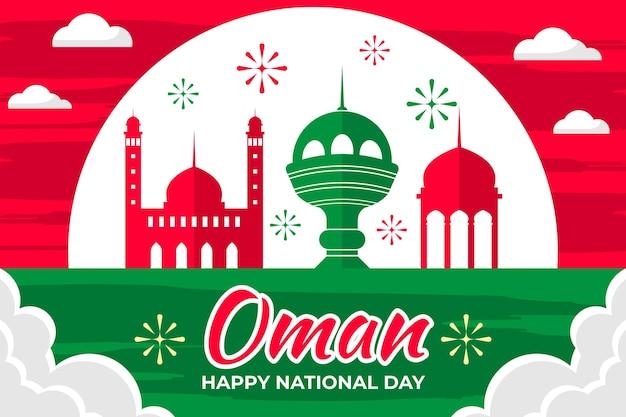 Illustrazione di giornata nazionale dell'oman con fuochi d'artificio e punti di riferimento