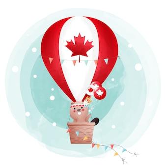 Illustrazione di giorno del canada con il castoro sveglio e bandiera del canada sulla mongolfiera.