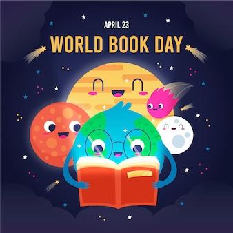 Illustrazione di giorno del libro del mondo con i pianeti