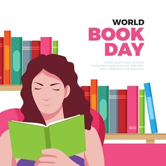 Illustrazione di giorno del libro del mondo con la lettura della donna