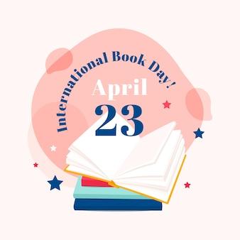 Illustrazione di giorno del libro del mondo nella progettazione piana