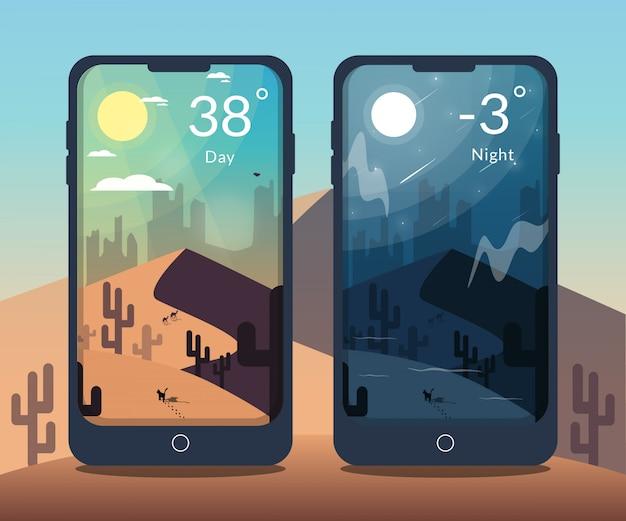 Illustrazione di giorno e notte del deserto per l'app mobile meteo