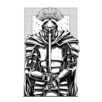 Illustrazione di gladiatore guerriero in bianco e nero