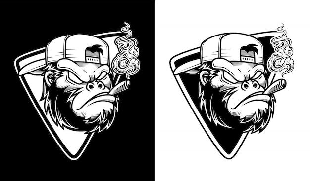 Illustrazione di gorilla arrabbiato con gli occhiali stavano fumando