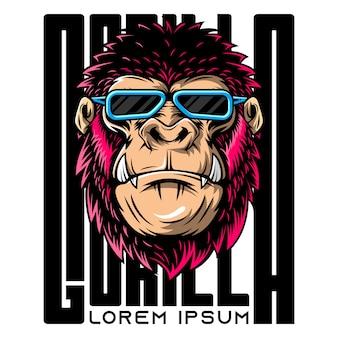 Illustrazione di gorilla arrabbiato con gli occhiali
