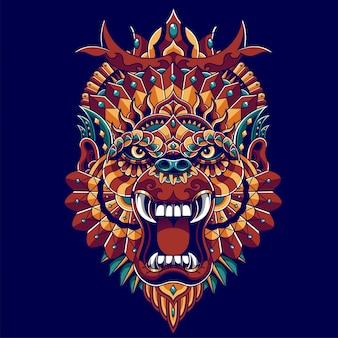 Illustrazione di gorilla colorato, zentangle mandala e design tshirt