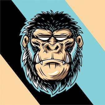 Illustrazione di gorilla cool con sguardi selvaggi e grandi zanne
