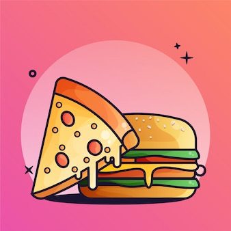 Illustrazione di gradiente di pizza e hamburger