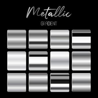 Illustrazione di gradienti metallici su sfondo nero