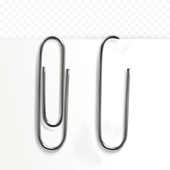 Illustrazione di graffetta di metallo realistico 3d clip sul foglio di carta della nota memo