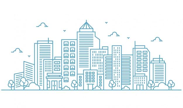 Illustrazione di grandi edifici e alberi nello stile di linee sottili