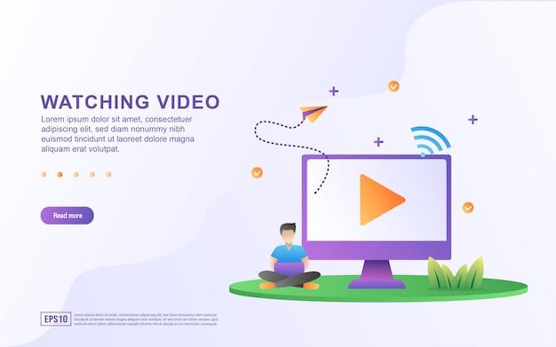 Illustrazione di guardare video tutorial sul computer.
