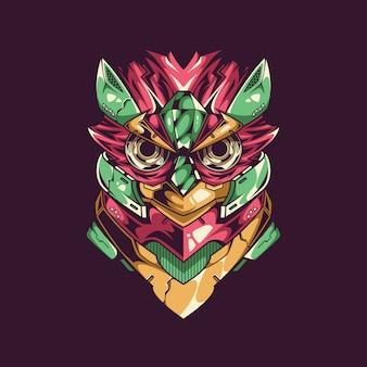 Illustrazione di gufo mecha e design t-shirt