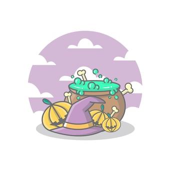 Illustrazione di halloween con cappello da strega, molte zucche, ossa e incantesimi