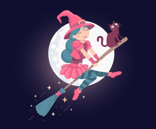 Illustrazione di halloween del carattere della strega con il volo del gatto nero su un manico di scopa
