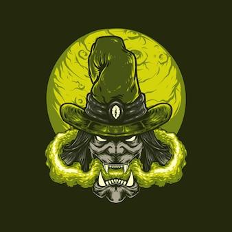 Illustrazione di halloween della strega