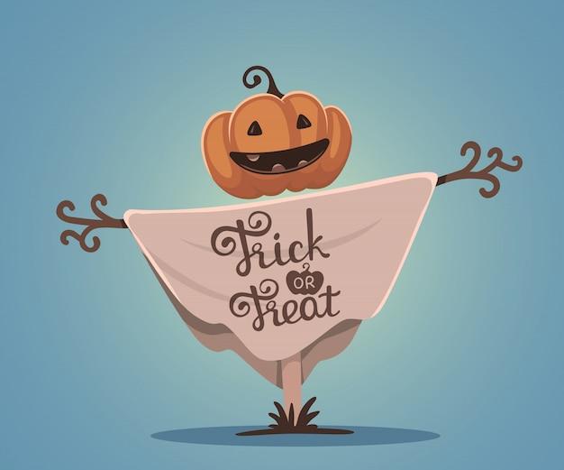 Illustrazione di halloween dello spaventapasseri decorativo con la testa arancio della zucca