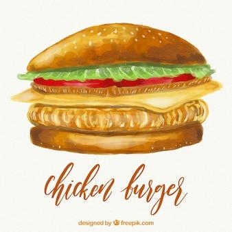 Illustrazione di hamburger di pollo