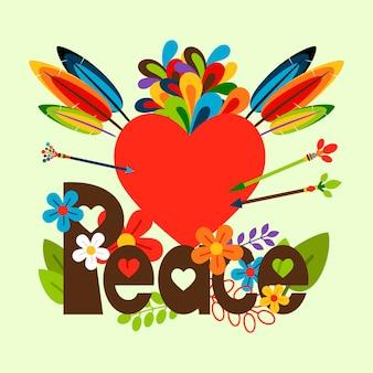 Illustrazione di hippy con il cuore