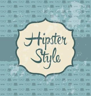 Illustrazione di hipster su sfondo retrò vecchio stile vettoriale