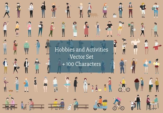 Illustrazione di hobbies e attività umane
