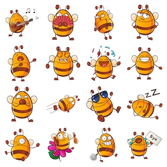 Illustrazione di honey bee set