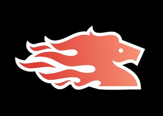 Illustrazione di icona di logo di fuoco di cavallo per il branding, decalcomania dell'involucro dell'automobile, adesivo e strisce