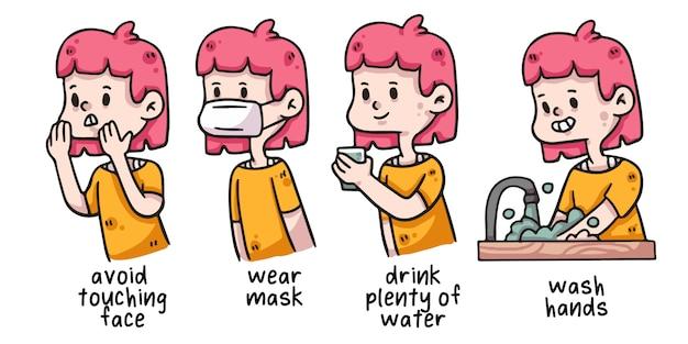 Illustrazione di igiene adeguata donna covid-19