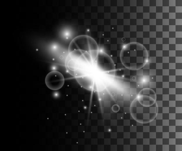 Illustrazione di illuminazione a bagliore con effetto bokeh bianco al neon con decorazione di particelle sulla pagina del sito web con sfondo trasparente e sull'app mobile