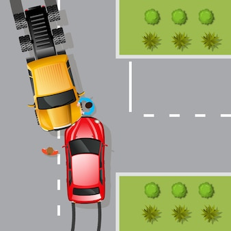 Illustrazione di incidente d'auto