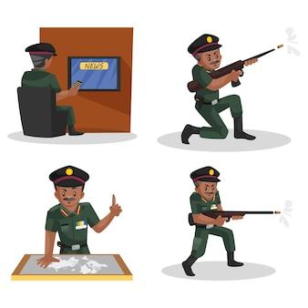 Illustrazione di indian army man character set