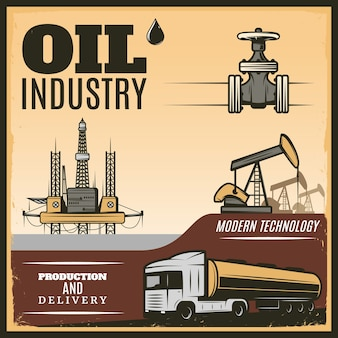 Illustrazione di industria petrolifera d'epoca