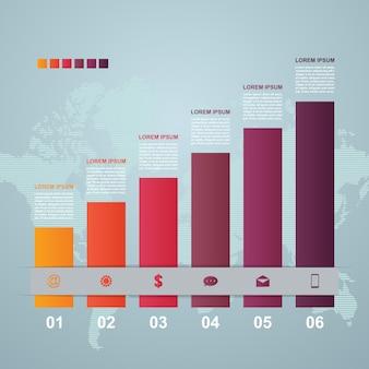 Illustrazione di infographic di affari statistici del diagramma di punti del grafico a barre