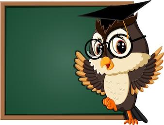 Illustrazione di insegnante di gufo alla lavagna